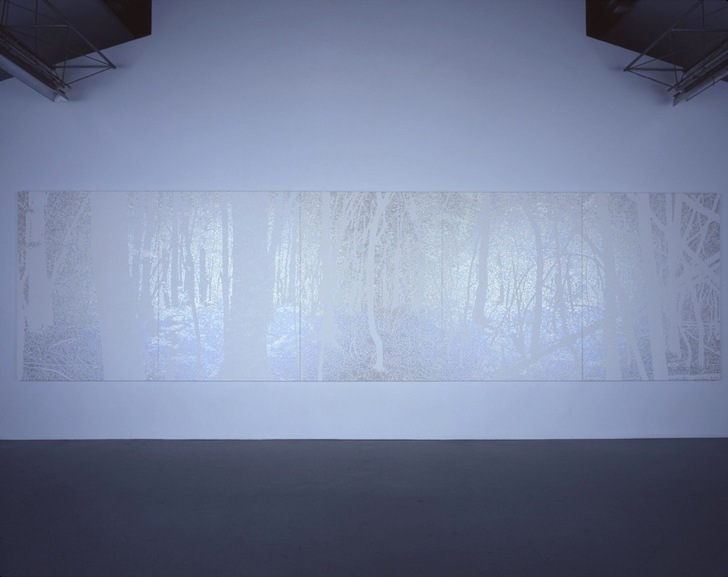 &quot;FOREST#1&quot;, 2009, 200 x 750 cm (5pieces), acrylic on cotton, <br>Installation view at SCAI THE BATHHOUSE, 2009, photo by Keizo Kioku