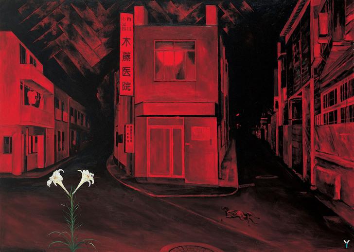 『暗夜光路 赤い街』、2001、163 x 227.3 cm、アクリル、カンバス