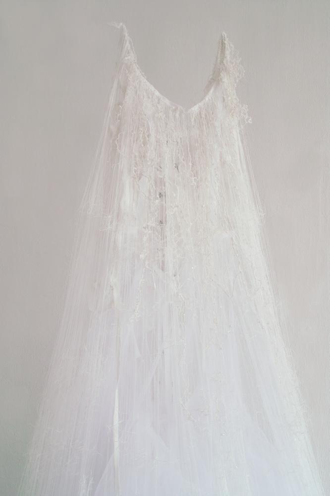 """"""" untitled -brides-  [Detail]  """" , 2012, dimensions variable, material : wedding dress"""