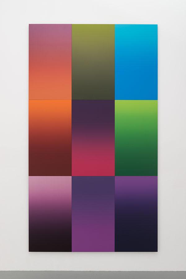 『engage』、2016、450 ×255 cm(150 × 85cm x 9 pieces)、綿布にアクリル