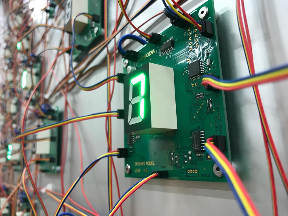&quot;Life (complex system) No.7&quot;, 2017, h.128.2 x 176.4 x 12.8 cm, <br>L.E.D., IC, microcomputer by Ikegami program, electric wire, passive sensor, plexiglass,