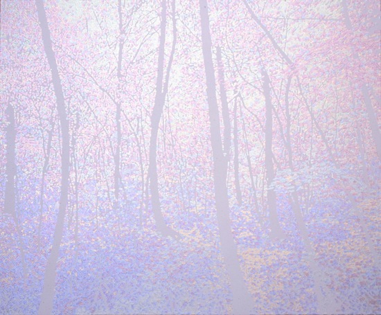 """""""UROBOROS(woods)"""", 2008, acrylic on cotton, 140 x 170 cm"""