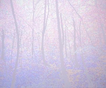 """UROBOROS(woods)"", 2008, acrylic on cotton, 140 x 170 cm"