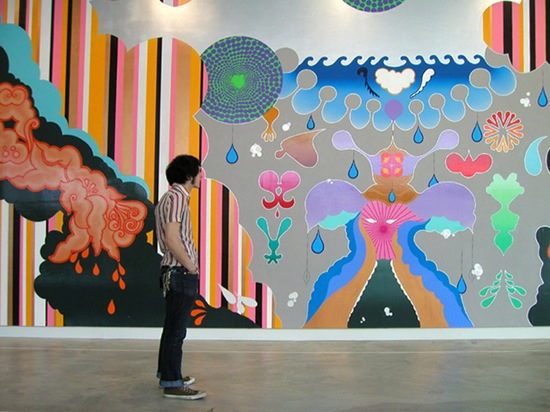 """Dzine, installation view from solo exhibition """"PUNK FUNK""""at Contermporary Art Museum St. Louis 2005"""