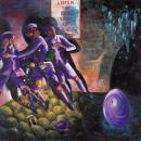 """Purple Quickening"", 1994, 193.9 x 193.9 cm, acrylic, buttons and postcards on canvas"