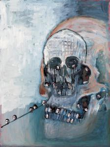 """Life in Death"", 2000, 65.2 x 53 cm, oil and collage on canvas"