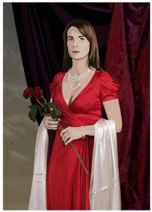 """Ika in a red dress."", 2009, Computer film -52"" LCD screen - PC, 125.5 x 75 x 12.5 cm, Edition of 4"