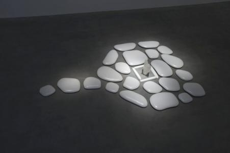 """Flat Stone"", 2007, Ceramic, acrylic, installation size 487.5 x 314.6 x 8.8 cm, Photo by Tom Powell"