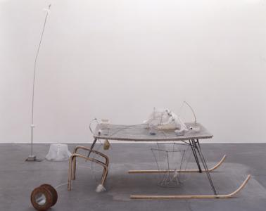 """Silicon SANPO Ruler"", 2007, 90 x 187 x 113 cm (table size), mixed media"