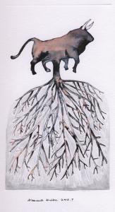 小池一馬「牡牛/樹の根」、2006、23 x 12.5 cm、紙に水彩、インク