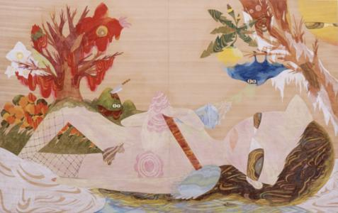 古武家賢太郎、Untitled、2009年、Color pencil on wood、140 x 220cm