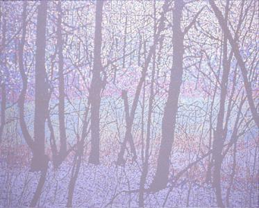 """UROBOROS(woods)"", 2008, acrylic on cotton, 120 x 150 cm"