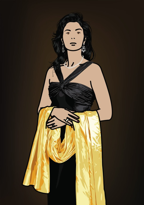 &quot;Antonia with yellow shawl.&quot;, 2008, <br>Inkjet on canvas with ebonised pear wood frame, 120 x 83.9 cm