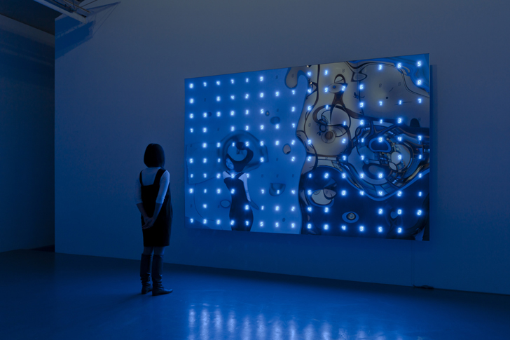 """Warp Time with Warp Self No.1"" 2010, 200 x 300 x 23 cm, LED, IC, electric wire, mirror, steel,Photo : Nobutada Omote"