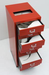 """Flat File Globe 3B Red Version"", 2007,Cuts on yupo, metal cabinet, 94 x 34.9 x 46 cmphoto : Masa Noguchi"