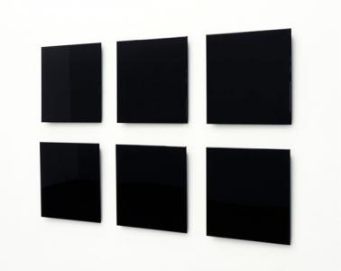"Atsushi Saga ""repose / 018 - 023"", 2008, MDF, urethane coat, 45 x 45.2 - 45.9 x 3.7- 4.7 cm each, installation size 102 x 160 cm"