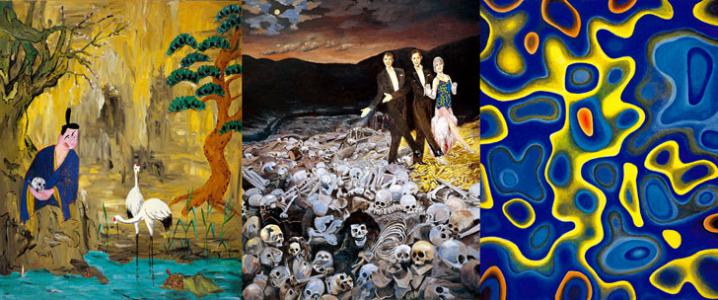 """""""The Primitive Universe"""", 2000, Acrylic and collage on canvas, 227.3 × 546 cm"""