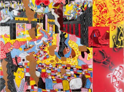 「葬の館」、2012年、キャンバスに油彩、合成樹脂塗料、193.9 × 258.9 cm