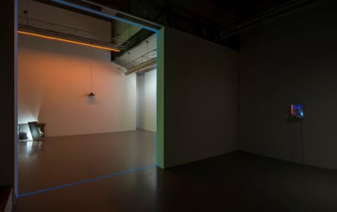 """Falling rope"", installation view in SCAI THE BATHHOUSE, 2013Dimensions variable, LED, LED controllers, LCD monitor, speakers, media player, cablesphoto by Nobutada OMOTE 