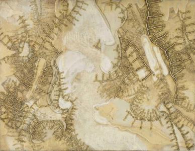 中西夏之《韻'60 20 Mars》1960年、ペイント、エナメル、砂、合板、112.6 × 145.6 cm撮影:山本 糾
