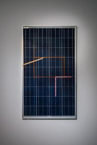 "Haroon Mirza, ""Solar Powered LED Circuit Composition 2,"" 2014, solar panel, LED tape, power supply, copper tape, 116 x 67 x 3 cm, photo by Nobutada OMOTE 