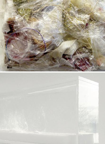 上:平松実紗《延命措置》2014年、ゴミ、木製パネル、22 x 27 x 8 cm(部分)下:田辺真弓《めまい Vertigo》2014年、ミクストメディア、170 x 75 x 13 cm(部分)
