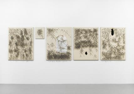 """Clothespins Assert Churning Action"" 1963/93, strings, clothespins on canvas, 116.5 x 91 cm (4 pieces.) and 41x32cm (1 piece), photo: Tadasu Yamamoto"