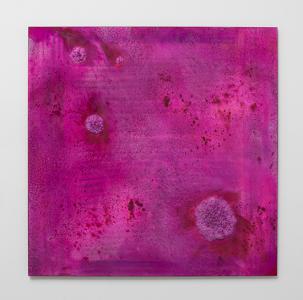 《Untitled (Urushi Series)》、 2015、 漆パネルにミクストメディア、 186 x 186 x 3 (cm) 撮影: 表恒匡