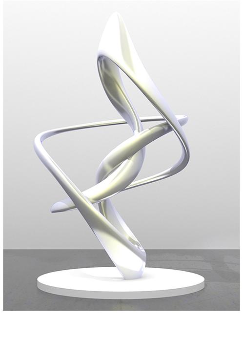 """Cycloid IV"", 2015, Alminium, pigment, lacquer, 220 x 139 x 127cm"