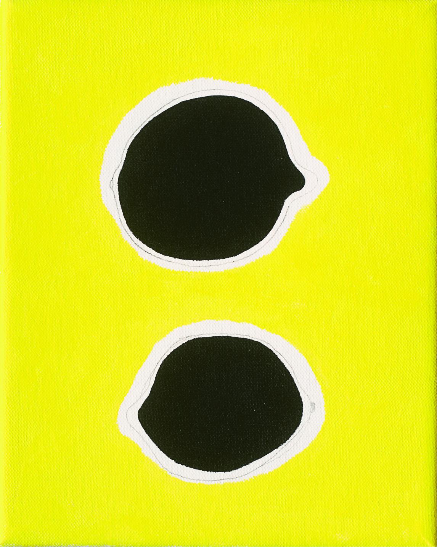Two Lemons, 2016, pencil, acrylic on canvas, 20 x 25 cm