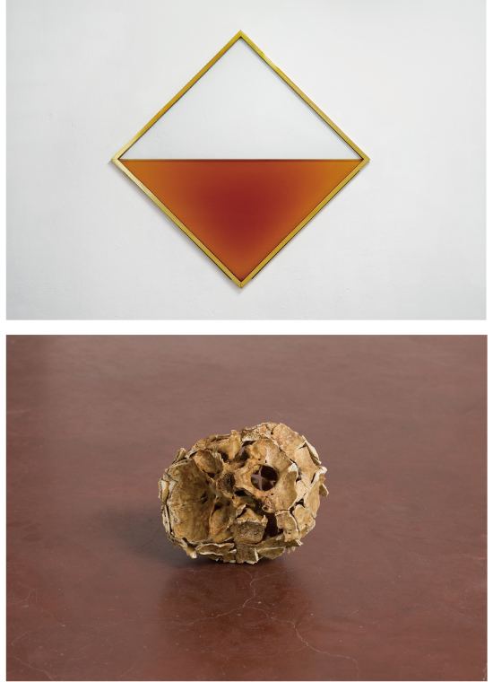 "Reijiro Wada: ""MITTAG"" 2015, brandy, tempered glass, brass, stainless steel, CO2, 170 x 170 x 3.5 cm, photo: Enric Duch 