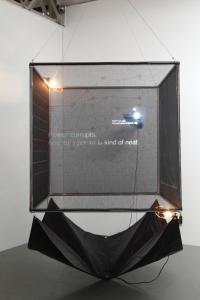 川上幸之介《Survival of Adaptable》2013年、紗幕、水、メタルフレーム、ビニールシート、プロジェクター、135 x 135 x 135 cm撮影:木奥恵三