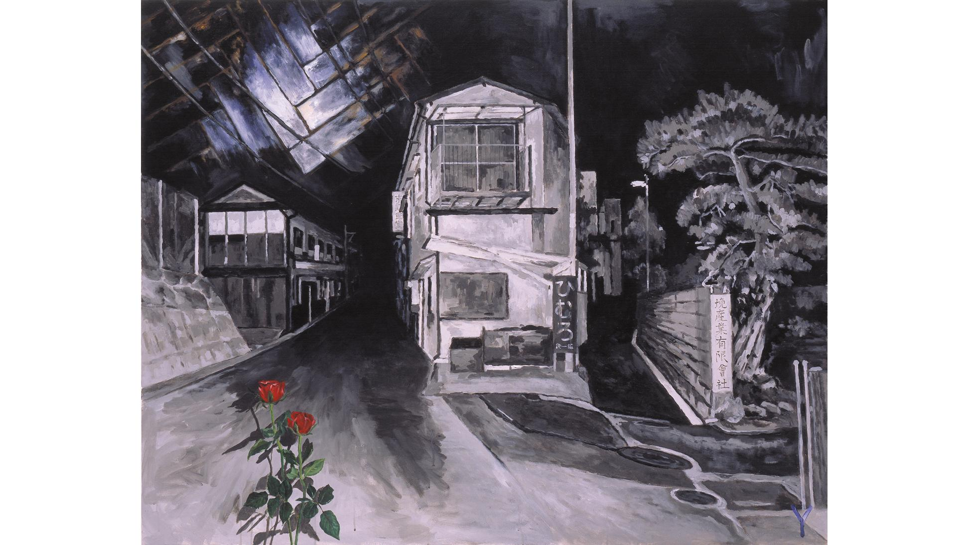 Tadanori Yokoo, A Dark Night's Flashing: Floor and Rose, 2001, Acrylic on canvas,h.130.3 x w.162.1cm