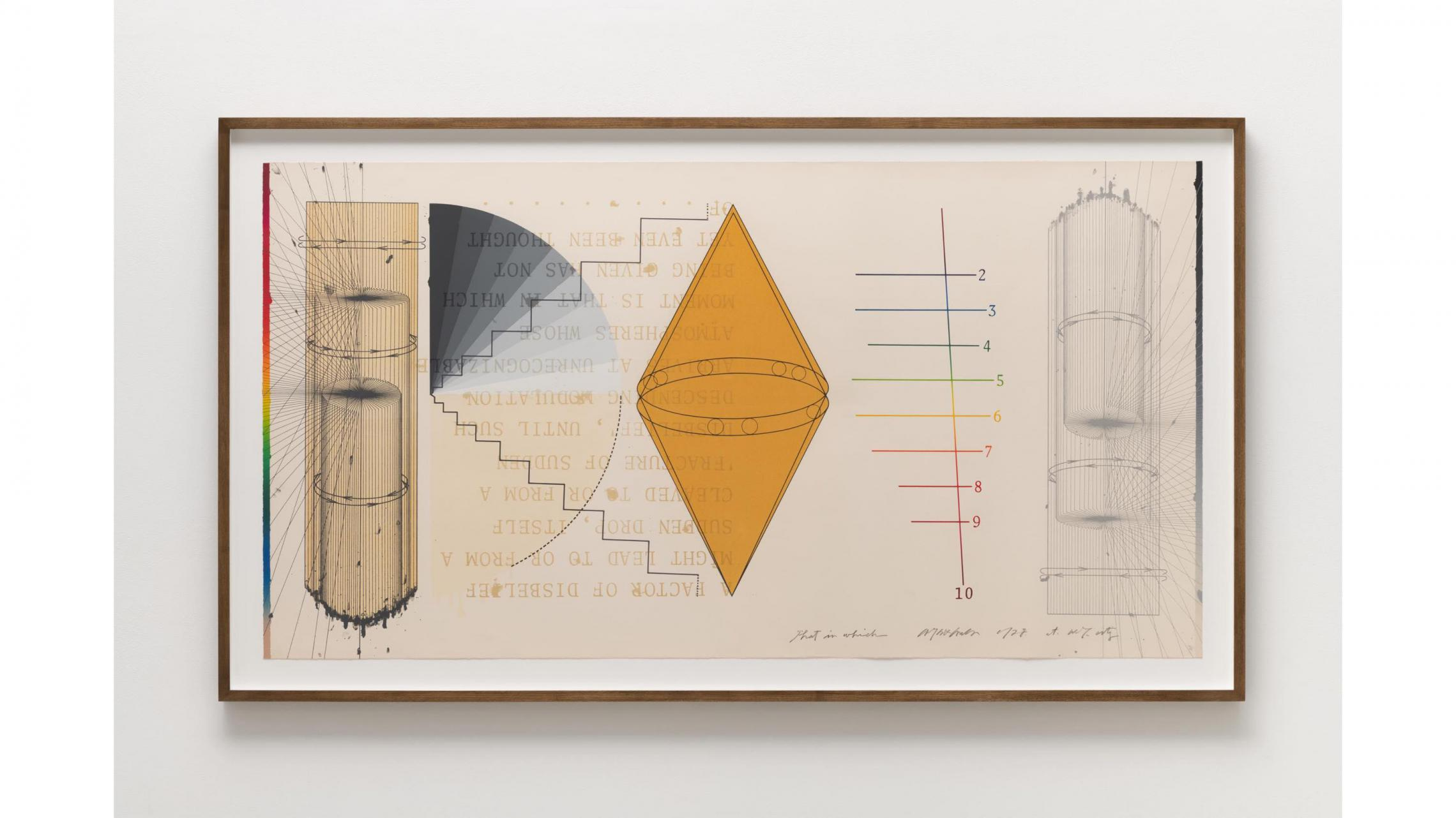 Shusaku Arakawa, THAT IN WHICH NO.3 , 1978, Color lithograph, silkscreen and collage on paper, 79 × 149.3 cm, Edition 25