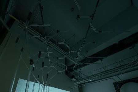 "Anne-Charlotte Yver ""Membre 3, section 7, subdivisions 3/4/5"", (detail), 2018, plexiglass, metal, acid, concrete, variable dimensions photo by Nobutada Omote"