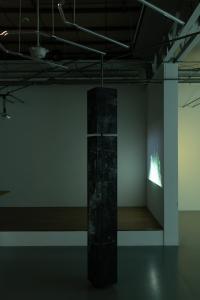 """Enzo Mianes """"Catharsis"""", 2019, plexiglass, wax, soot, metal, 265 x 20 x 20 (cm) photo by Nobutada Omote"""