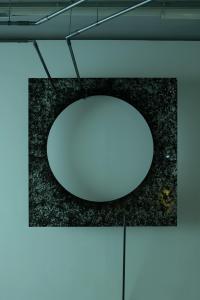 """Enzo Mianes """"Mindscape"""", 2019, Plexiglass, wax, soot, 168 x 168 (cm) photo by Nobutada Omote"""