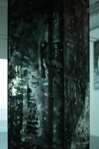 """Enzo Mianes """"Catharsis"""", (detail), 2019, plexiglass, wax, soot, metal, 265 x 20 x 20 (cm) photo by Nobutada Omote"""