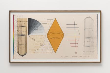 "Shusaku Arakawa, ""THAT IN WHICH NO.3"", 1978, Color lithograph, silkscreen and collage on paper, 93 x 169 x 4.5 (cm) photo by Nobutada Omote"