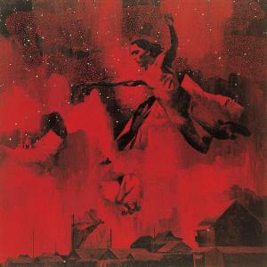 "Tadanori Yokoo, ""Man Flying into the Stars"", 1996, Acrylic on canvas, 116.7 x 116.7 (cm)"