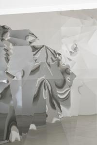"Yusuke Komuta, ""Plane_Bat"", (detail), 2014, stainless mirror, wood panel, 112 x 162 x 4.5 (cm) photo by Nobutada Omote"