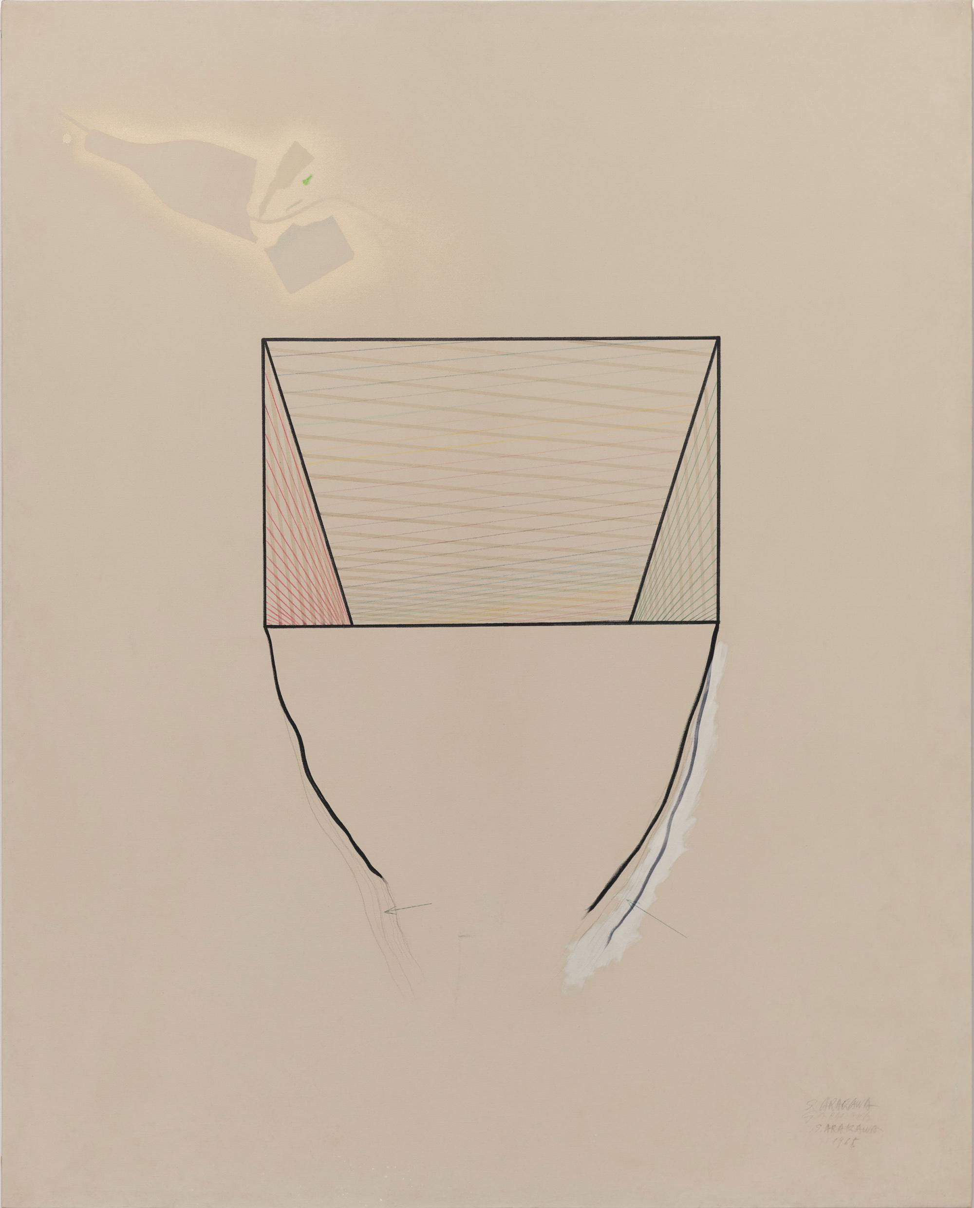 Arakawa, BOTTOMLESS No. 1, 1965, Ink and oil on canvas, 149.7 x 120 x 2.5 cm© 2020 Estate of Madeline Gins. Reproduced with permission of the Estate of Madeline Gins